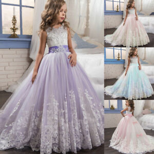 Kids Girls Princess Bridesmaid Pageant Floral Tutu Lace Tulle Gown Wedding Dress