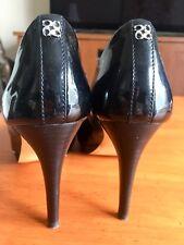 Coach Size 7 Black Patent Leather High Heel Pumps