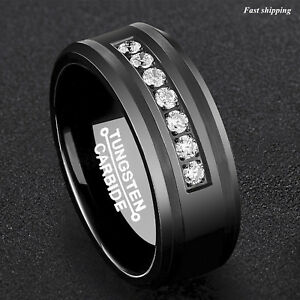 8Mm Black Tungsten Carbide Ring Diamonds Inlay Comfort Fit ATOP MEN Wedding Band