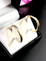 FABULOUS 14K SOLID TWO-TONE GOLD 2MM WIDE DIAMOND CUT HOOP PIERCED EARRINGS