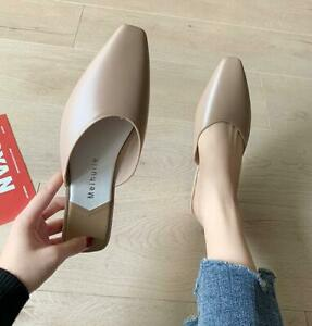 Women Close Toe Mules Slippers Summer Shoes Sexy Flat Sandals fashion