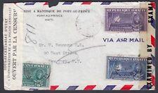 HAITI 1943 WWII TWICE CENSORED COVER PORT AU PRINCE TO NEW YORK USA