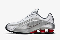 Nike Shox R4 Trainers in White Silver & Red Shoes Reflective Shoes