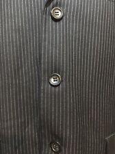 Caravelli Navy Pinstripe Mens Suit 40S 34xUnfinished Pants 3 Button Euc