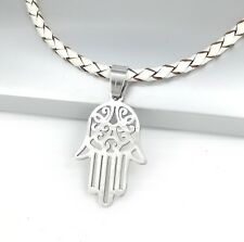 Silver Hamsa Hand Stainless Steel Pendant Braided White Leather Necklace
