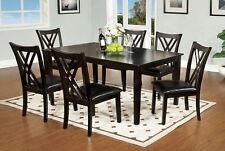 Espresso Finish Framed Back Dining Chairs Dining Table 7pc Dining Set Furniture