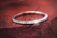 real solid 14k white gold engagement band 1.9ct diamond round wedding fine ring