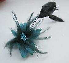Cute green Feather flower clip brooches Hair Wrist Wedding dance hat flower 04