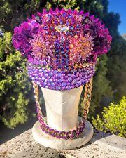 Captain Festival Hat / Sailor Rave Burning Man Purple Sequin Cap Doof Headpiece