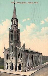 Vintage Postcard 1913 View of Holy Trinity Church Dayton Ohio OH
