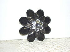 Faux Rhinestones Pin Black Gems with