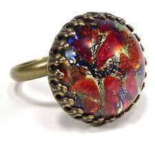 SoHo® Ring vintage bronze bohemia 1960er Jahre cabochon Glasstein red fireopal