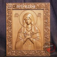 """The Virgin of Tenderness Mother of god 3D Orthodox Wood Carved Icon (20""""x17"""")"""