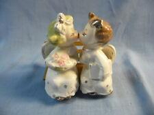 Vintage Ceramic Commodore Christmas Kissing Angel Figurines on Wood Bench Japan!