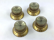 (4) Gold/Gold Reflector V/T Knobs for USA Gibson® Guitar/Bass and 6mm CTS Pots