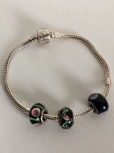 Pretty Sterling Silver Bracelet With Sterling Silver And Blown Glass Beads