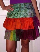 EUC Womens Medium Large CHIC THING by Shop Therapy 100% Silk India Ruffle Skirt