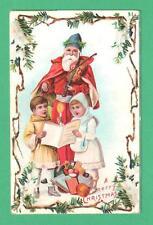 VINTAGE CHRISTMAS POSTCARD SANTA CLAUS PLAYS VIOLIN KIDS SING TOYS FRUITS NUTS