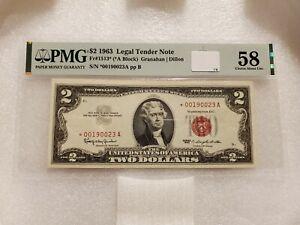 1963 $2 Legal Tender Star Note Fr#1513* (*A Block) PMG 58 EPQ