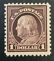 US Stamp, Scott #518 1 Dollar 1917 Franklin 1989 PF Certification F/VF M/NH