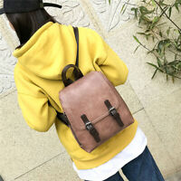 Womens Retro Pu Leather School Bags Backpack Shoulder Zipper Bag Rucksack