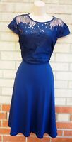 DOROTHY PERKINS BLUE NAVY FLORAL LACE SHORT SLEEVE A LINE PARTY DRESS 16 XL