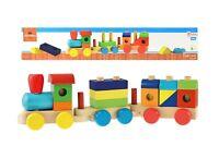 Holz-Eisenbahn 3-teilig, für Kleinkinder, mit Bauklotz-Beladung, WOODEN TOYS