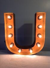 """New Rustic Metal Letter U Light Marquee: Sign Wall Decoration 12"""" Vintage"""