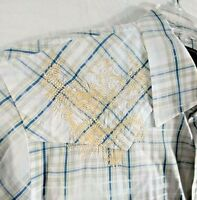 Marc Ecko Cut & Sew Men Size L Blue Plaid Short Sleeve Button Shirt Embroidered