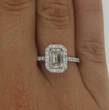 1.7 Ct Cathedral Halo Emerald Cut Diamond Engagement Ring SI1 F White Gold 18k