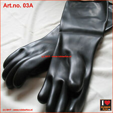 "Rubber gloves 44 cm / 18"" - black - unlined - 100% smooth - premium quality"