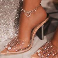Women's Straps Summer Slippers High Heels Stiletto Sandals Ladies Peep Toe Shoes