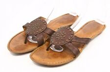 Born Børn Womens 10 Thong Sandals Bronze Metal Leather Medallion slip on flats