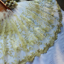 1 Yards Lace Trim Ivory Tulle Gold Floral Embroidered Tulle Lace 15.7 Inches