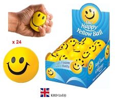 24 x BALLS FULL BOX Happy Yellow Foam Smile Face Bouncy Stress Relief UK