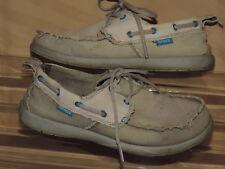 CROCS Mens 8 Khaki Tan Distressed Canvas Lace up Moc Boat Shoes