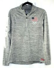 Olympic Team Apparel USA Spell Out Marled Gray 1/4 Zip Top Shirt Dri Fit