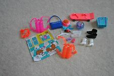 20 Piece Barbie Accessories, Aqua parts, shoes, fish bowl purse, skate board