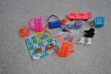 20 Piece Barbie Accessories, Aqua parts, shoes, fish bowl purse, skate board