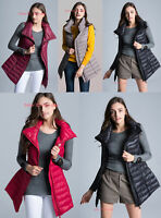 Womens Warm Duck Down Jacket Vest Stand Collar  Sleeveless Waistcoat Long Coat