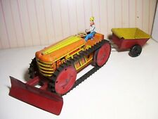 """8"""" long Marx wind-up Climbing Tractor with Trailer & Plow  EXC+++"""