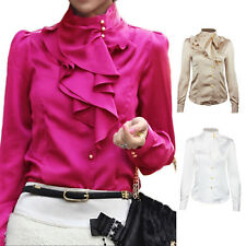 Beige/Purple/White Womens Office Shirt Ladies Work Silky Ruffle Blouse Satin Top
