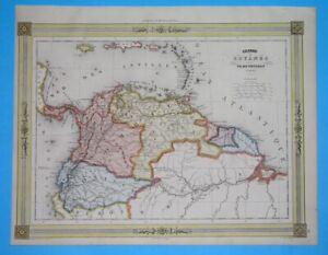 1850 NICE ORIGINAL MAP COLOMBIA VENEZUELA ECUADOR GUINANA GUYANA BOGOTA QUITO