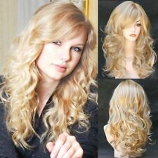 Women Golden Blonde Long Wavy Curly Gold Full Hair Wigs Daily Cosplay Party 25""