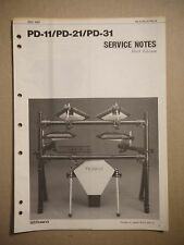 Roland PD-11/PD-21/PD-31 Service Notes First Edition Manual