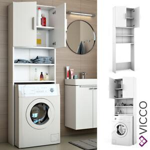 Vicco Armadio per lavatrice Armadio bagno bianco 190x64cm Scaffale per il bagno