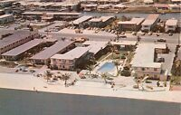 ST PETERSBURG FLORIDA~TRAILS END MOTEL~GULF BLVD~AERIAL VIEW POSTCARD 1960s