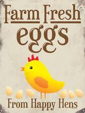 Farm Fresh Eggs Tin Sign 30.5x40.7cm