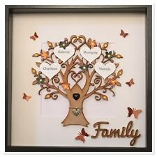Personalised Family Tree 3D Box Frame Keepsake Black & Copper Gift Unique Home