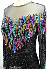 Nite Vintage NYE Dress Sequin Bead Silk Deco Gatsby multi color L/S knee gown 6
